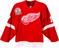 2002 Brett Hull Stanley Cup Playoffs Game Worn Detroit Red Wings Jersey--Photo Matched!