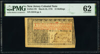 New Jersey March 25, 1776 12s PMG Uncirculated 62