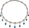 Estate Jewelry:Necklaces, Antique Sapphire, Diamond, Silver-Topped Gold Necklace. ...