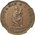 1838 Am I Not a Man and a Brother Hard Times Token, Low-54A, HT-82, High R.7, XF40 NGC