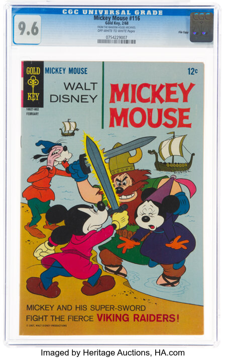 Mickey Mouse #116 File Copy (Gold Key, 1968) CGC NM+ 9.6 Off-white to white pages....