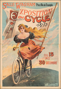 """Cycle Exposition (1897). Fine+ on Linen. French Poster (59"""" X 86"""") V. Bocchino Artwork. Advertising"""