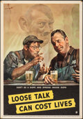 """Movie Posters:War, World War II Propaganda (National Defense, 1942). Rolled, Very Fine-. Poster (14"""" X 20"""") """"Loose Talk Can Cost Lives,"""" C.C. B..."""