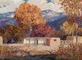 Paintings, Fremont F. Ellis (American, 1897-1985). Old Adobes Near San Juan. Oil on board. 22 x 30 inches (55.9...