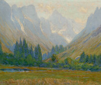 Charles Partridge Adams (American, 1858-1942) Misty Morning Oil on canvas 20 x 24 inches (50.8 x 61.0 cm) Signed low