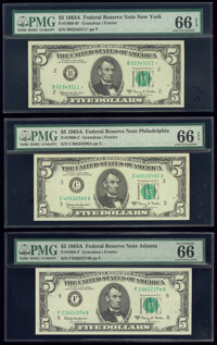 Fr. 1968-B*; C; F $5 1963A Federal Reserve Notes. PMG Gem Uncirculated 66 EPQ. ... (Total: 3 notes)