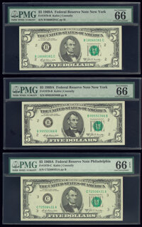Fr. 1970-B (2); C $5 1969A Federal Reserve Notes. PMG Gem Uncirculated 66 EPQ. ... (Total: 3 notes)