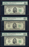 Fr. 1957-B; G (2) $5 1934A Federal Reserve Notes. PMG Graded Choice Uncirculated 64 EPQ (2); Gem Uncirculated 65 EPQ...