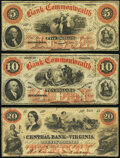 Obsoletes By State:Virginia, Richmond, VA- Bank of the Commonwealth $5; $10 1858-61 Fine;. Staunton, VA- Central Bank of Virginia ...