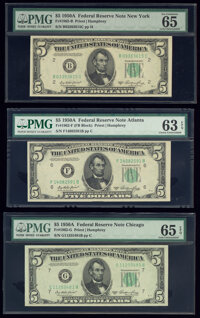 Fr. 1962-B; F; G $5 1950A Federal Reserve Notes. PMG Graded Choice Uncirculated 63 EPQ-Gem Uncirculated 65 EPQ. ... (Tot...
