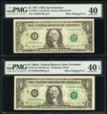 Error Notes:Offsets, Full Back to Face Offset Error Fr. 1909-L $1 1977 Federal Reserve Note. PMG Extremely Fine 40;. Full Back to Face Offset E... (Total: 2 notes)