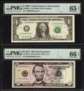 Matching Near Solid Serial Number 80888888 Fr. 3000-A $1 2009 Federal Reserve Note. PMG Gem Uncirculated 65 EPQ and Fr...