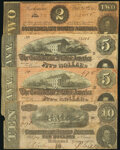 Confederate Notes:1864 Issues, T68 $10 1864 Fine;. T69 $5 1864 Fine (2);. T70 $2 1864 Fine.. ... (Total: 4 notes)