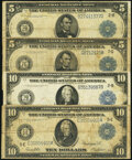 Large Size:Federal Reserve Notes, Fr. 851a $5 1914 Federal Reserve Note Fine;. Fr. 871a $5 1914 Federal Reserve Note Fine;. Fr. 911a $10 1914 Federal Re... (Total: 4 notes)