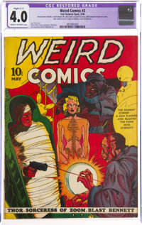 Weird Comics #2 (Fox Features Syndicate, 1940) CGC Apparent VG 4.0 Slight (C-1) Cream to off-white pages