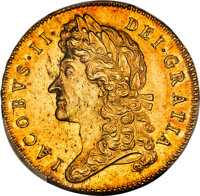 Great Britain: James II gold 5 Guineas 1688 MS62 PCGS