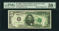 Partial Offset of Back to Front Error Fr. 1972-B $5 1969C Federal Reserve Note. PMG Choice About Unc 58 EPQ
