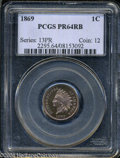 Proof Indian Cents: , 1869 1C PR64 Red and Brown PCGS. Fully struck, with ...