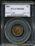 Proof Indian Cents: , 1869 1C PR65 Red and Brown PCGS. A well-struck Gem that ...