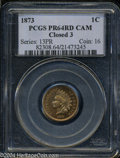 Proof Indian Cents: , 1873 1C Closed 3 PR64 Red Cameo PCGS. A radiant honey-...