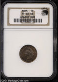 Proof Indian Cents: , 1875 1C PR65 Red and Brown NGC. Eagle Eye Photo Seal, ...