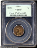 Proof Indian Cents: , 1898 1C PR65 Red PCGS. Luminous olive-yellow color fills ...