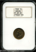 Proof Indian Cents: , 1909 1C PR65 Red NGC. Bright copper-gold color over fully ...