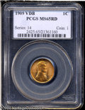 Lincoln Cents: , 1909 VDB 1C MS65 Red PCGS. Well struck with extremely ...