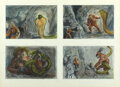 Movie/TV Memorabilia:Original Art, Willis O'Brien Storyboard Artwork of Giant Baboon Battling a Snake from Baboon: A Tale About a Yeti...