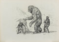 """Movie/TV Memorabilia:Original Art, Willis O'Brien Charcoal Artwork the """"Yeti"""" from Baboon: A Tale About a Yeti (1962). ..."""