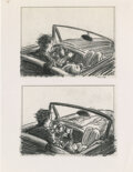 """Movie/TV Memorabilia:Original Art, George Turner (16) Storyboards Artwork For Terri Garr """"Frannie"""" Nude Car Sequence in One From the Heart (Zoetrope,..."""