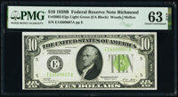Fr. 2002-E $10 1928B Light Green Seal Federal Reserve Note. PMG Choice Uncirculated 63 EPQ