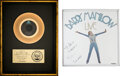 """Music Memorabilia:Autographs and Signed Items, Barry Manilow Signed and Inscribed Mirror With """"Copacabana"""" RIAA Gold Sales Award.... (Total: 2 Items)"""