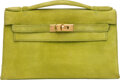 """Luxury Accessories:Bags, Hermès Vert Anis Veau Doblis Suede Kelly Pochette Bag with Gold Hardware. I Square, 2005. Condition: 4. 8.5"""" Width..."""