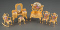 Collectible, A Six-Piece Suite of Volupté Gilt Metal and Enameled Porcelain Miniature Furniture, 20th century. Marks to metal components:... (Total: 6 Items)