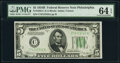 Fr. 1958-C $5 1934B Federal Reserve Note. PMG Choice Uncirculated 64 EPQ