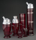 Glass, A Group of Thirteen American Art Deco Ruby Red Glass Cocktail Articles, circa 1930. 16-1/4 inches (41.3 cm) (tallest). ... (Total: 13 Items)