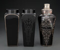 Glass, An Art Deco Silver Overlay Black Glass Cocktail Shaker with Two Art Deco Black Glass Vases, circa 1930. Marks to cocktail sh... (Total: 3 Items)