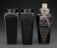 An Art Deco Silver Overlay Black Glass Cocktail Shaker with Two Art Deco Black Glass Vases, circa 1930 Marks to cocktail...