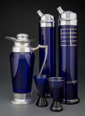 Glass, A Group of Eighteen American Art Deco Cobalt Blue Glass Cocktail Articles, circa 1930. Marks to one cocktail shaker: QUEEN... (Total: 18 Items)