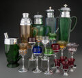 Glass, A Group of Twenty-Two American Chrome Mounted Multi-Color Glass Cocktail Cups and Shakers and a Tray, New York, circa 1932. ... (Total: 23 Items)
