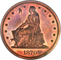 1870 $1 One Dollar, Judd-1004, Pollock-1136, R.7, PR64 Red and Brown PCGS. CAC....(PCGS# 71251)