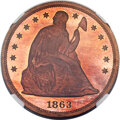 Patterns, 1863 $1 Motto Seated Dollar, Judd-346, Pollock-418, Low R.7, PR66★ Red Cameo NGC....