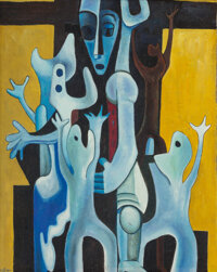 Charles Henry Alston (American, 1907-1977) Surrealist Figures with Tribal Mask Oil on canvas 20 x