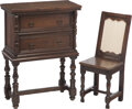 Furniture, A Spanish-Style Walnut Vargueno with Chair, 18th century. 37-3/4 x 27-1/2 x 12-1/2 inches (95.9 x 69.9 x 31.8 cm). 33-3/4 x ... (Total: 2 Items)