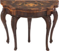 Furniture, An Italian Parquetry and Marquetry Inlaid Fold-Over Games Table, 19th century. 29-1/4 x 37 x 19 inches (74.3 x 94.0 x 48.3 c...
