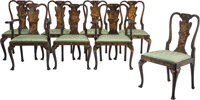 An Eight-Piece Set of Queen Anne-Style Japanned Dining Chairs, 19th century 37-3/4 x 24 x 21-1/2 inches (95.9 x 61.0 x 5...