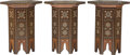 Furniture, Three Moorish Wood and Mother-of-Pearl Inlaid Side Tables. 19-7/8 x 16 inches (50.5 x 40.6 cm) (each). ... (Total: 3 Items)