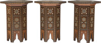 Three Moorish Wood and Mother-of-Pearl Inlaid Side Tables 19-7/8 x 16 inches (50.5 x 40.6 cm) (each)  ... (Total: 3 Item...