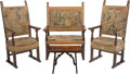 Furniture, A Four-Piece Jacobean Carved Wood and Tapestry-Upholstered Parlor Suite. Marks: paper labels to table underside MADE IN IT... (Total: 4 Items)